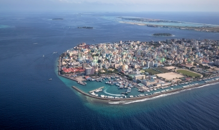 atoll: Main Capital of Maldvies, Male  Picture taken from air  Stock Photo