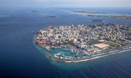 Main Capital van Maldvies, Man Foto genomen vanuit de lucht Stockfoto