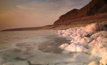 dead sea: Costal view of Dead sea in Jordan with sunset scenary behind Stock Photo