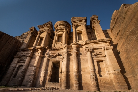 of petra: Second most famous building in city of Petra, Jordan with half shadow, half light Stock Photo