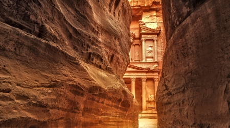 View from Siq on entrance of City of Petra, Jordan Stock Photo