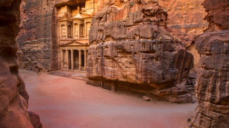 civilization: Picture from top, showing complete area of entrance in City of Petra, Jordan