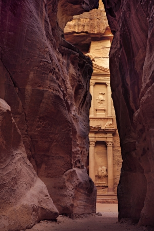 of petra: Treasury  in vertical position, picture taken inside of Siq, City of Petra, Jordan