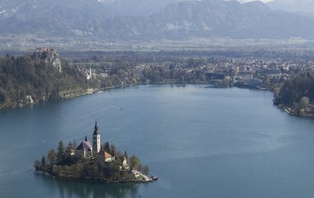 Iconic picutre of Slovenian landmark Bled Island photo