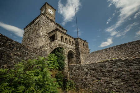 citadel: View of Clock tower located in Fortress of old town Gjirokastra