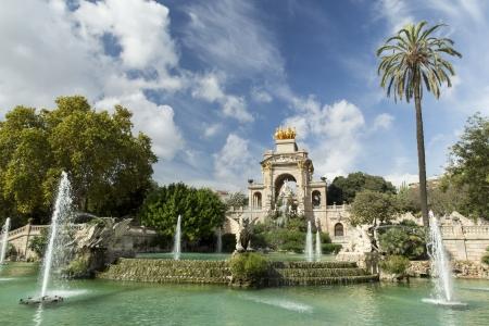 fontaine: Cascada fontaine in Park of Barcelona, Spain
