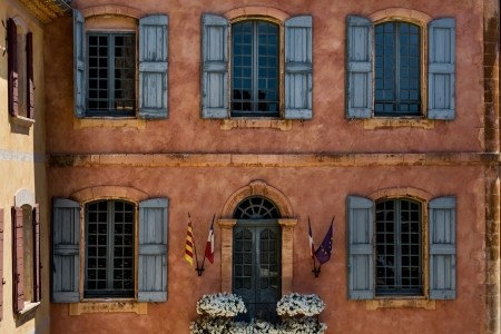 provencal: Windows located in old city inside region of Provenc in France