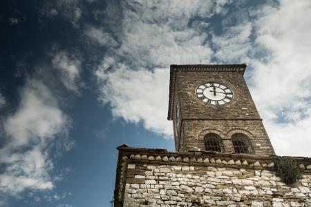 citadel: Famous Clock tower in Albanian city Gjirokastra also know as Gjirokaster