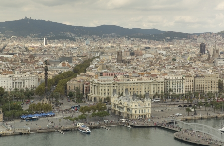 Picture of Barcelona with landmark La Rambla street and view on coast line with port inftrastructure photo