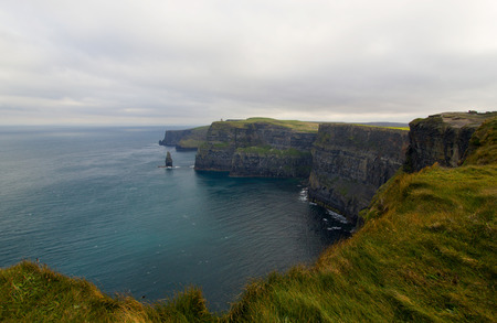 cliff edge: Wide angle view on Cliffs of Moher in Ireland