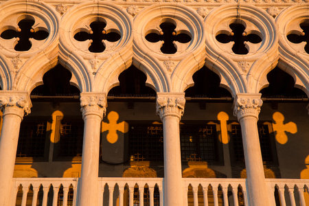 saint marco: Front view of of Dodge Palace with amazing yellow shadows created by sunrise lightening