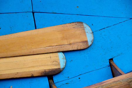 blue vessels: Detail shoot of blue gondola and vessels inside of Venice boat, Italy