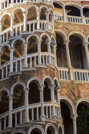 scala: Secret gem of Venice named Palazzo Contarini del Bovolo with famous staircase details in vertical position