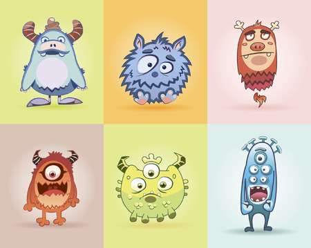Set monsters for print. Set funny monsters. Fanny monster. Cartoon cute monsters. Ridiculous small monsters