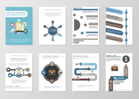 Business infographics elements for corporate brochures. Collection of modern infographic elements in a flyer and brochure concept. Flat design. Vector Vector