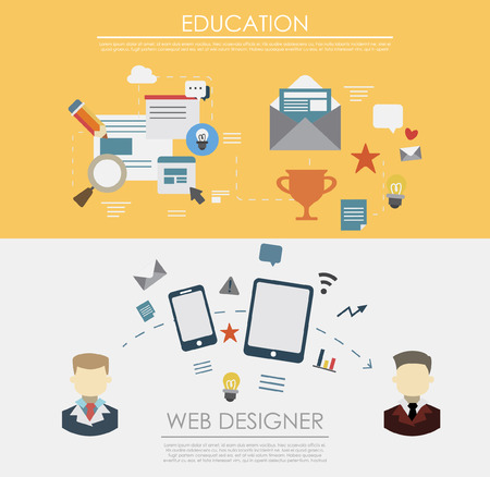printed work: Set of flat design illustration concepts for business, team work, analysis, strategy and planning, startup. Concepts for web banner and printed materials. Synchronization equipment, cloud computing Illustration