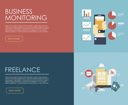 staff training: Set of flat design illustration concepts for business, finance, consulting, management, human resources, career, employment agency, staff training. Concepts for web banner and printed materials.