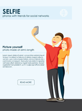 Taking Selfie fashion trend. mobile app for photos. Selfie Design Element vector