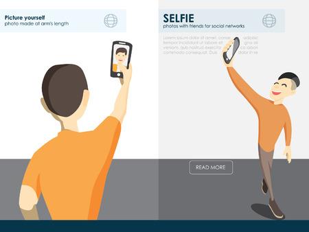 selfie: Taking Selfie fashion trend. mobile app for photos. Selfie Design Element vector