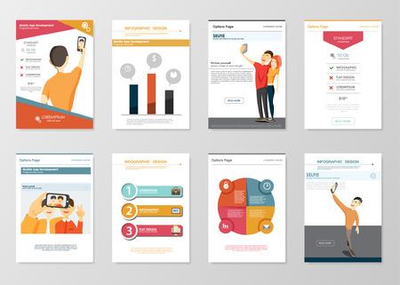 selfie: Selfie infographics elements for app develop brochures. Collection of modern infographic elements in a flyer and brochure concept. Flat design vector. Taking Selfie fashion trend. Selfie Element