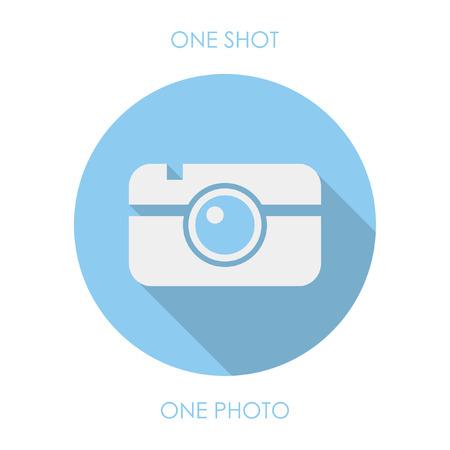 flat photo icon. blue round icon 向量圖像