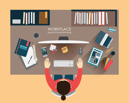workplace brainstorming in flat style. Workplace designer freelance worker. Top view. Concept of the coworking center. Business meeting. Shared working environment.