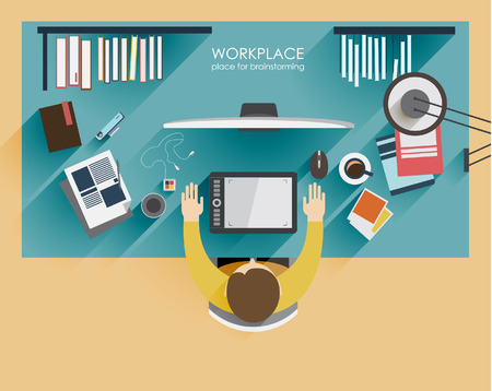 web conference: workplace brainstorming in flat style. Workplace designer freelance worker. Top view. Concept of the coworking center. Business meeting. Shared working environment.