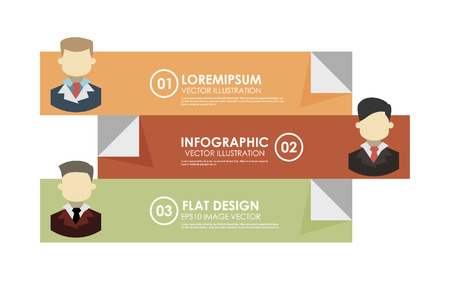 template banners in 3 steps in the flat style. element vector graphics business