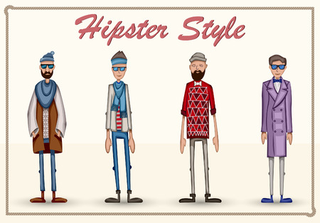 Hipster man. Stylish fashion guys. Different men hipster. Vector illustration set collection