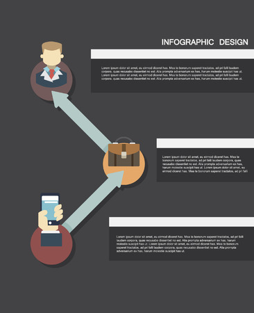 infographic in flat design. template for presentation. elements in modern flat business style 向量圖像