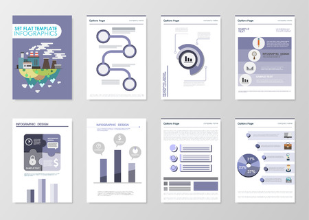 data collection: Business infographics elements for corporate brochures. Collection of modern infographic elements in a flyer and brochure concept. Flat design. Vector