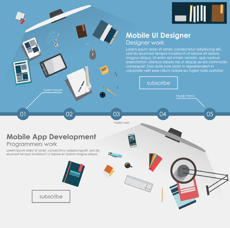 mobile apps: Set of flat design illustration concepts for web design development, graphic design. Concepts for web banner and printed materials.