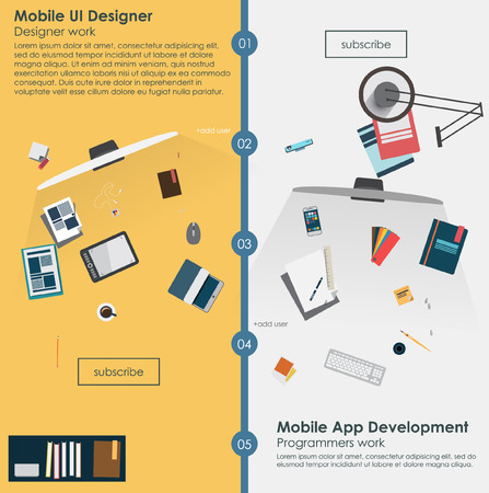 Flat banners for web development and mobile apps development. vector infographic 向量圖像