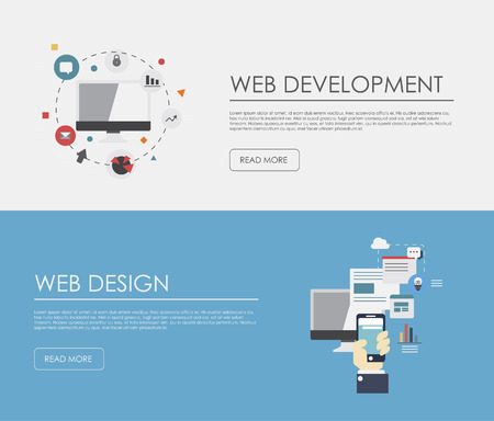Flat designed banners for web development and mobile apps development. Vector 向量圖像