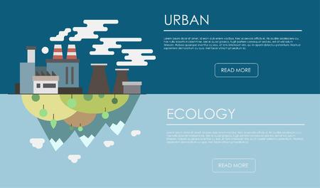 Flat design illustration concepts for business pollution and conservation. Concepts web banner and printed materials problem of conservation ecology