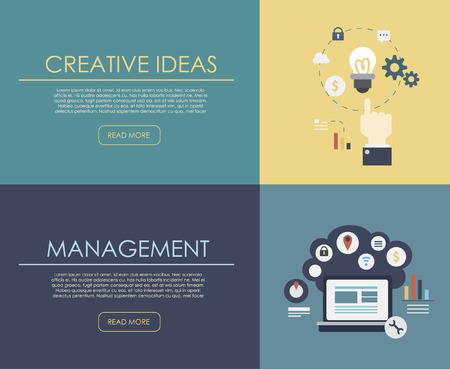 Set of flat design illustration concepts for business, finance, consulting, management, human resources, career, employment agency, staff training. Concepts for web banner and printed materials.