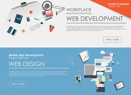 フラット設計図の概念 web デザイン開発、アイコン デザイン、グラフィック デザイン、デザイン事務所のセット。Web バナー、印刷物のための概念。  イラスト・ベクター素材