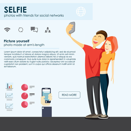 Selfie のファッショントレンドを取っています。モバイル アプリの写真のため。Selfie デザイン要素ベクトル