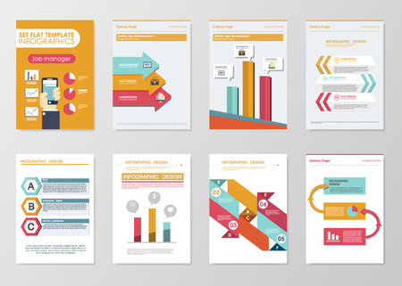 Business infographics elements for corporate brochures. Collection of modern infographic elements in a flyer and brochure concept. Flat design vector. Taking Selfie 向量圖像