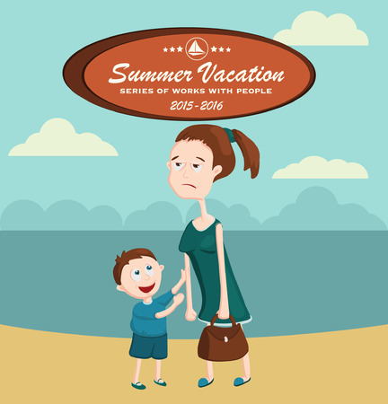 anticipation: Tired of family life woman. Dream Vacation. Hope for an unforgettable holiday. Illustration for a travel company. In anticipation of the long-awaited vacation. Illustration