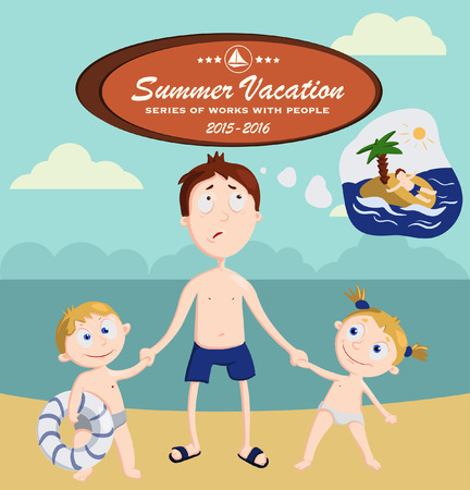Summer family vacation dreams and reality, vector illustration. no peace from the children even on vacation