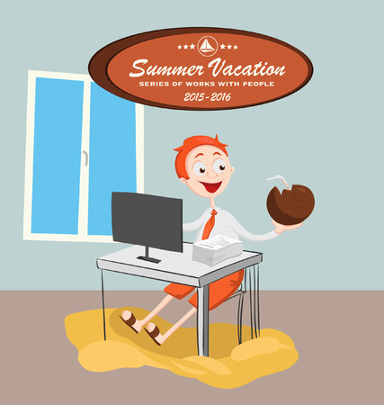 Summer vacation with character design. Vector illustration. Singles. Dream holiday. Beautiful beach. Illustration for a travel company.