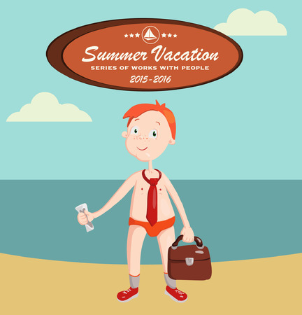 Summer vacation with character design.Vector illustration. Singles. Dream holiday. Beautiful beach. Illustration for a travel company.