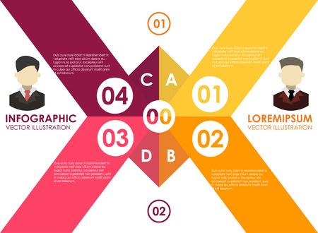 origami Business line. Template for diagram, graph, presentation and chart. Business concept with 4 options, parts, steps or processes. Abstract background.