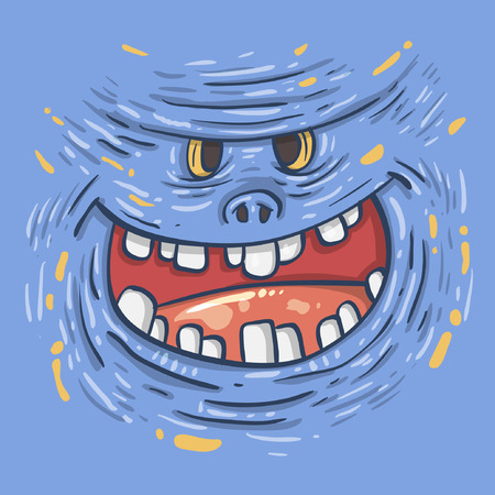 Cartoon funny monster. Cartoon cute monster shows tongue. Vector. Sticker. Cartoon character.