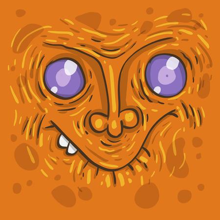 Cartoon ugly monster. Cartoon crazy monster. Cartoon spooky monster. Vector. Sticker. Cartoon character. Vector