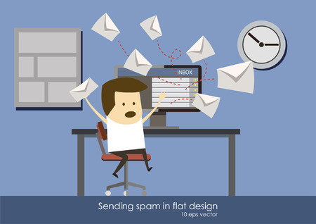 spamming: spam flat design, freelancer