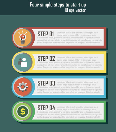 3 4: UI for start up. 1 2 3 4 step. flat infographic. UI for app