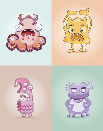 Set monsters for print. Set funny monsters. Fanny monster. Cartoon cute monsters. Ridiculous small monsters (cute)