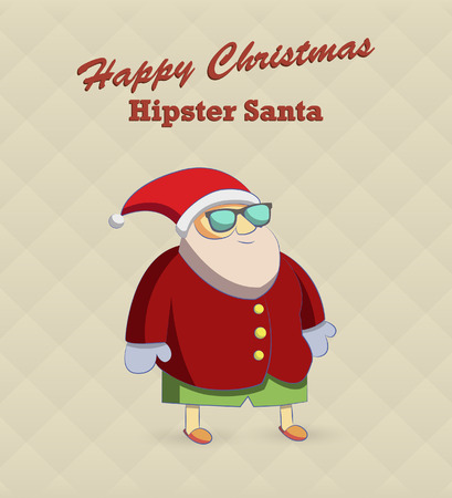 Fat santa. Hipster Santa Claus in glasses